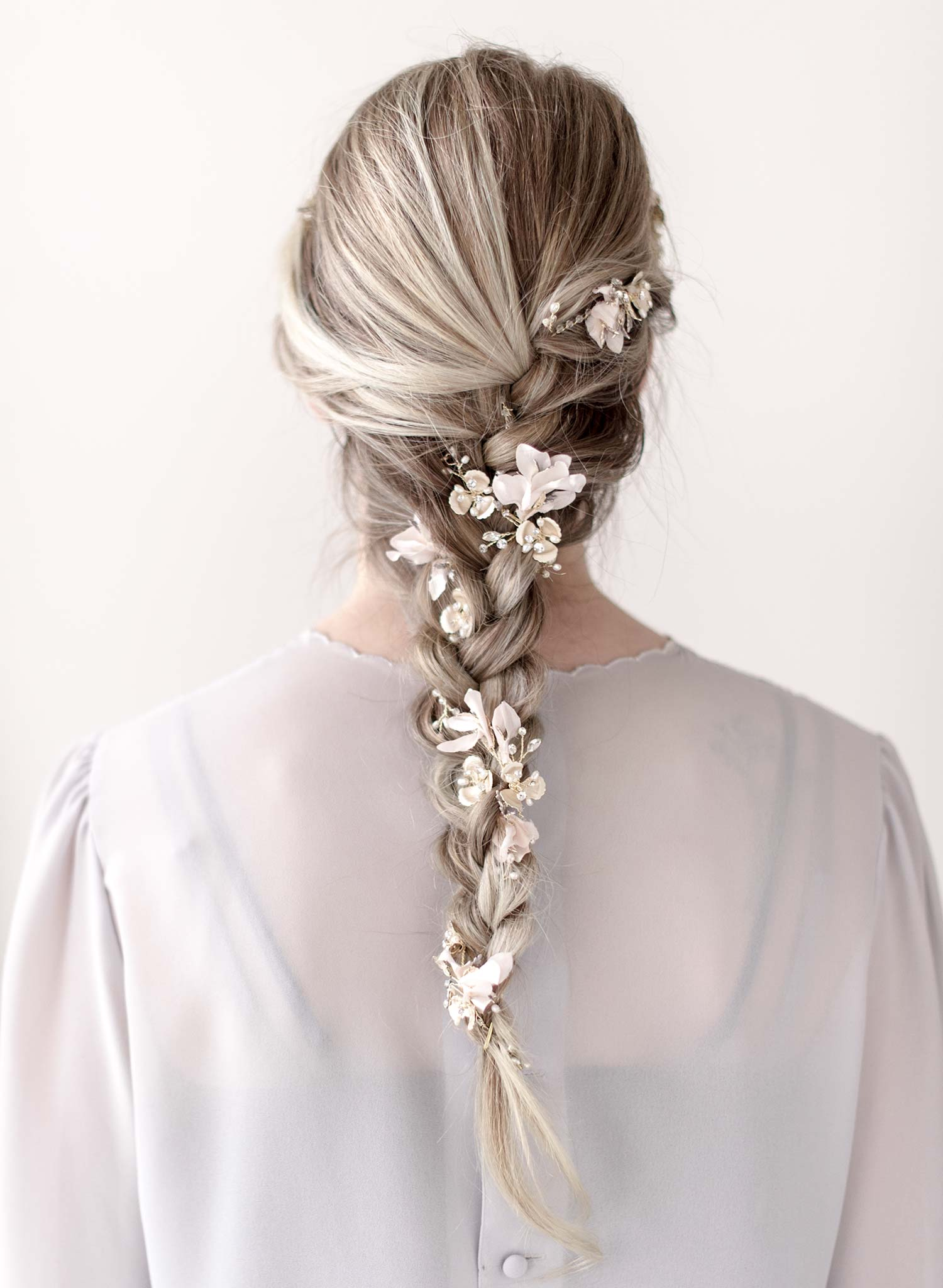 Extra long blushing blossom and crystal hair vine - Style #912