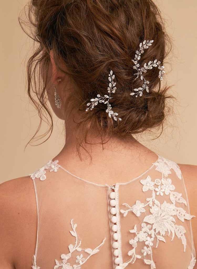 bridal leaflet crystal hairpins bhldn twigs & honey