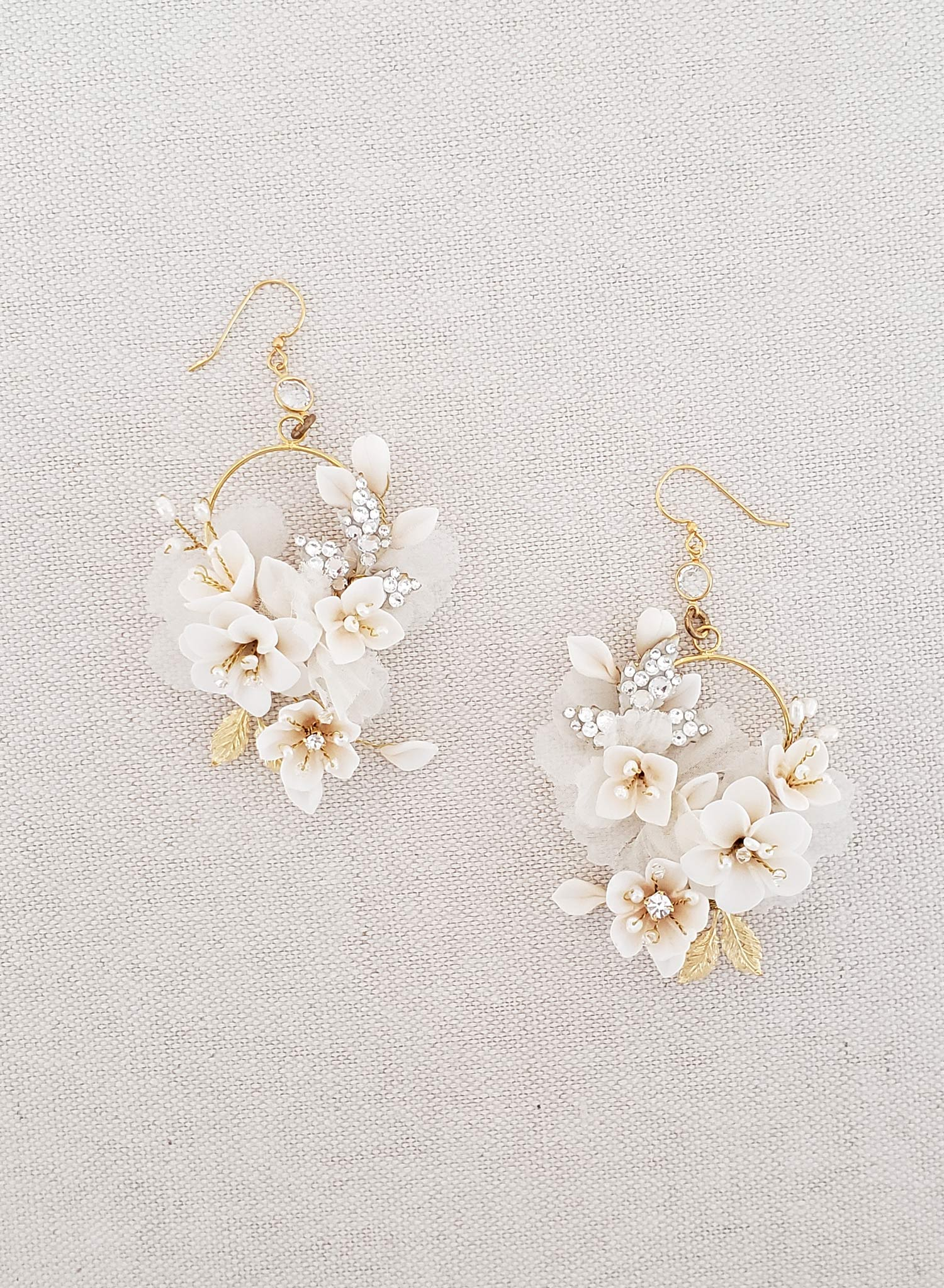 Creamy blossom and silk flower earrings - Style #951