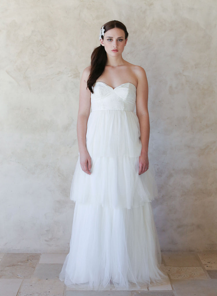 strapless lace and silk tulle ballgown, bridal gown, twigs and honey dress