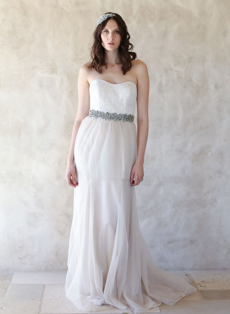 strapless bridal dress, train, lace overlay, tulle, twigs and honey dress