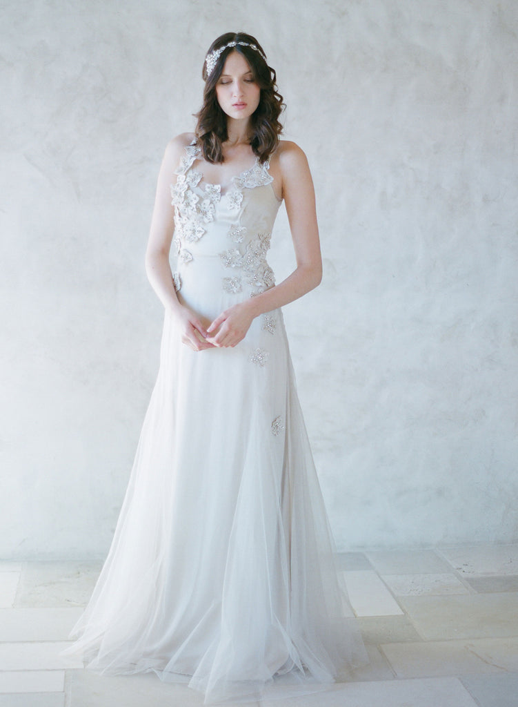 champagne tulle bridal gown, embellished tulle dress, twigs and honey