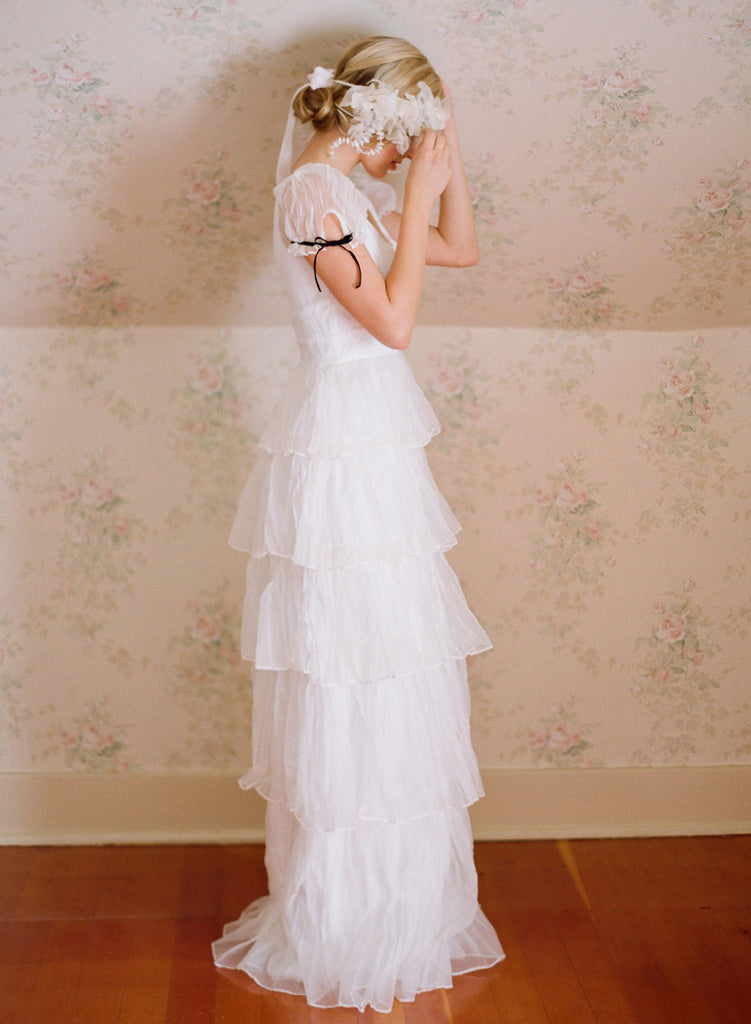 Viola - Tiered crinkle silk organza dress