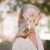 Silk flower bouquet with bandeau birdcage veil - Style # 304
