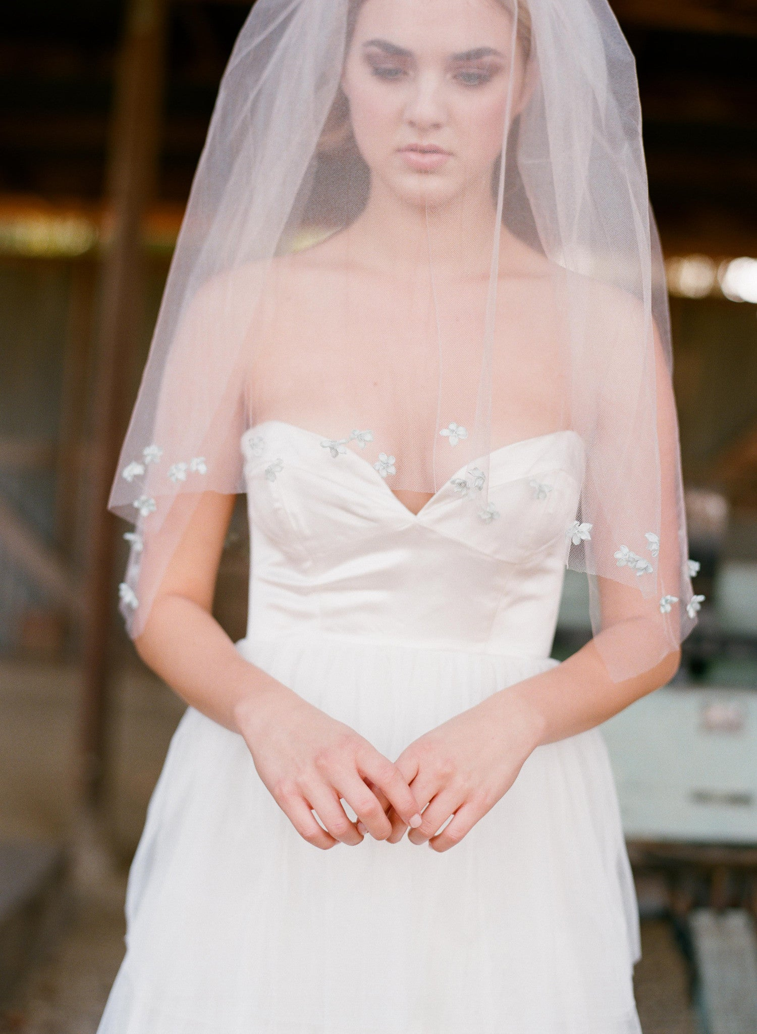 Double layer straight veil with ribbon bows - Style # 315