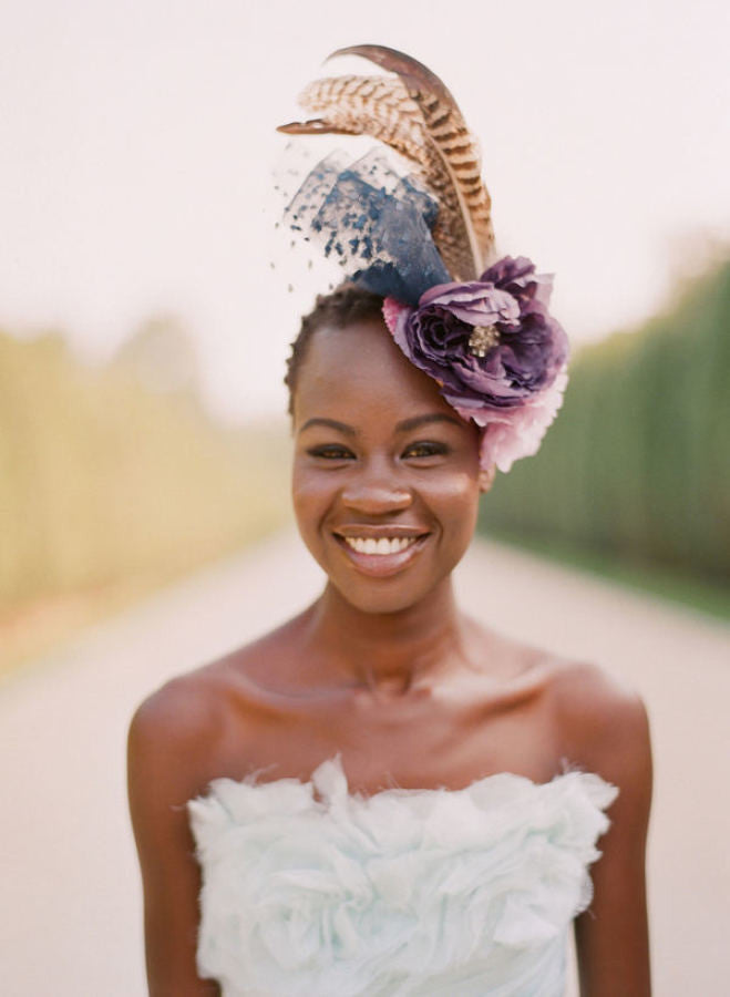 Dramatic colorful bloom bridal mini hat