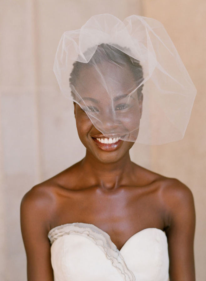 Tulle sheer birdcage veil - Style # 028