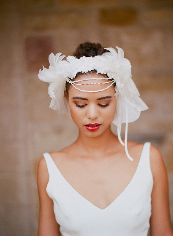 Ornate silk bloom and swag headband - Style # 210