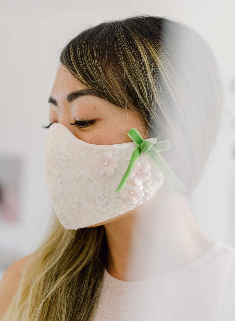 French lace and blush linen handmade face mask