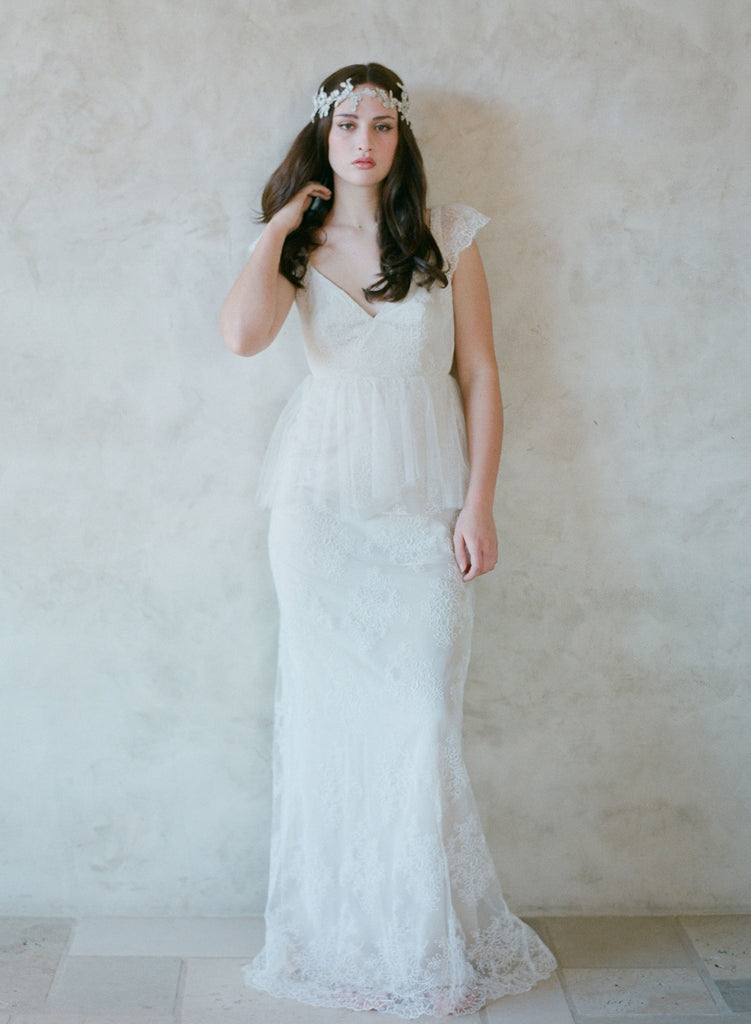 lace and silk tulle bridal gown, peplum, lace overlay, twigs and honey