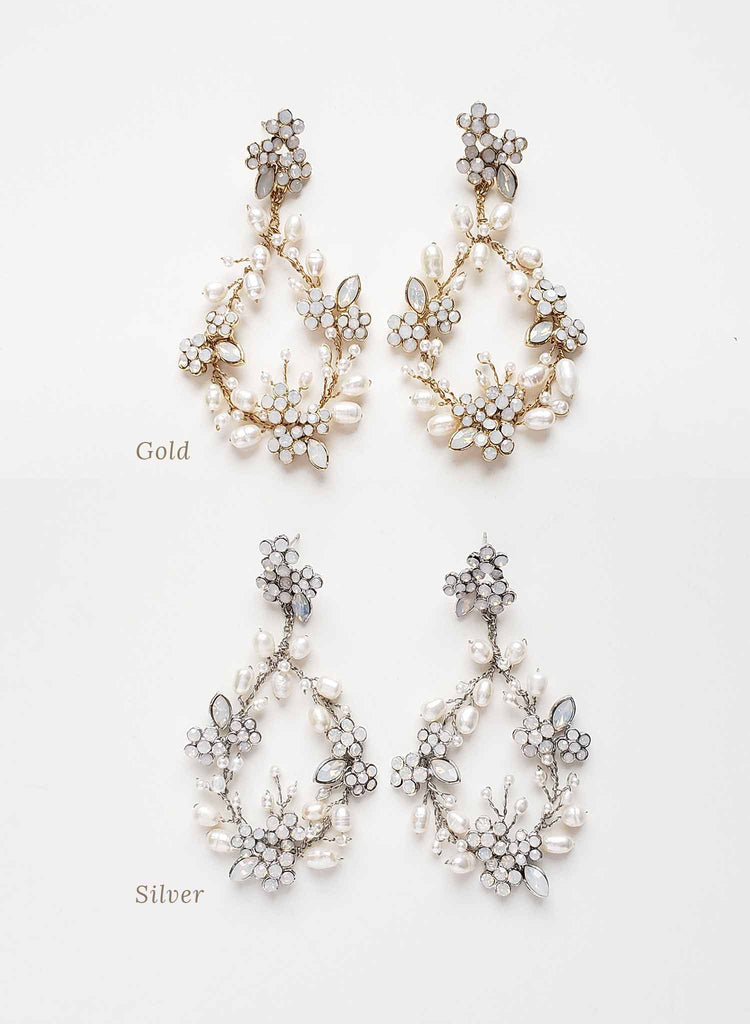 Baby's breath bridal pearl earrings - Style #2063