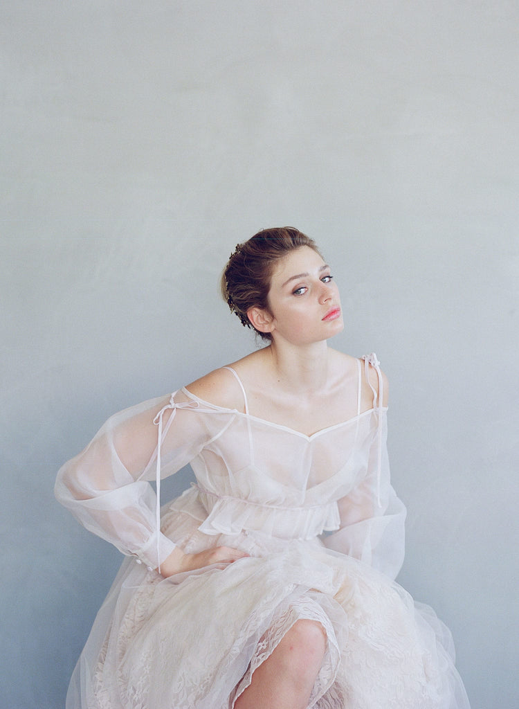 Silk organza off the shoulder bridal jacket, shrug, capelet, cover-up, twigs and honey