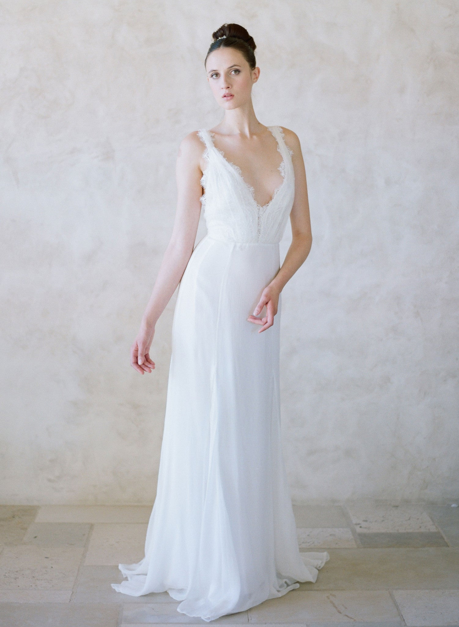 Pacific - Grecian inspired lace and silk gown - Style #TH003