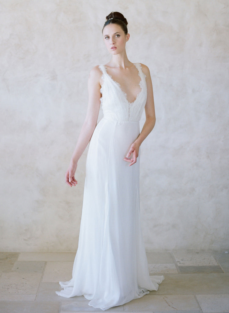 grecian inspired silk bridal gown, pacific, lace plunging neckline, twigs and honey