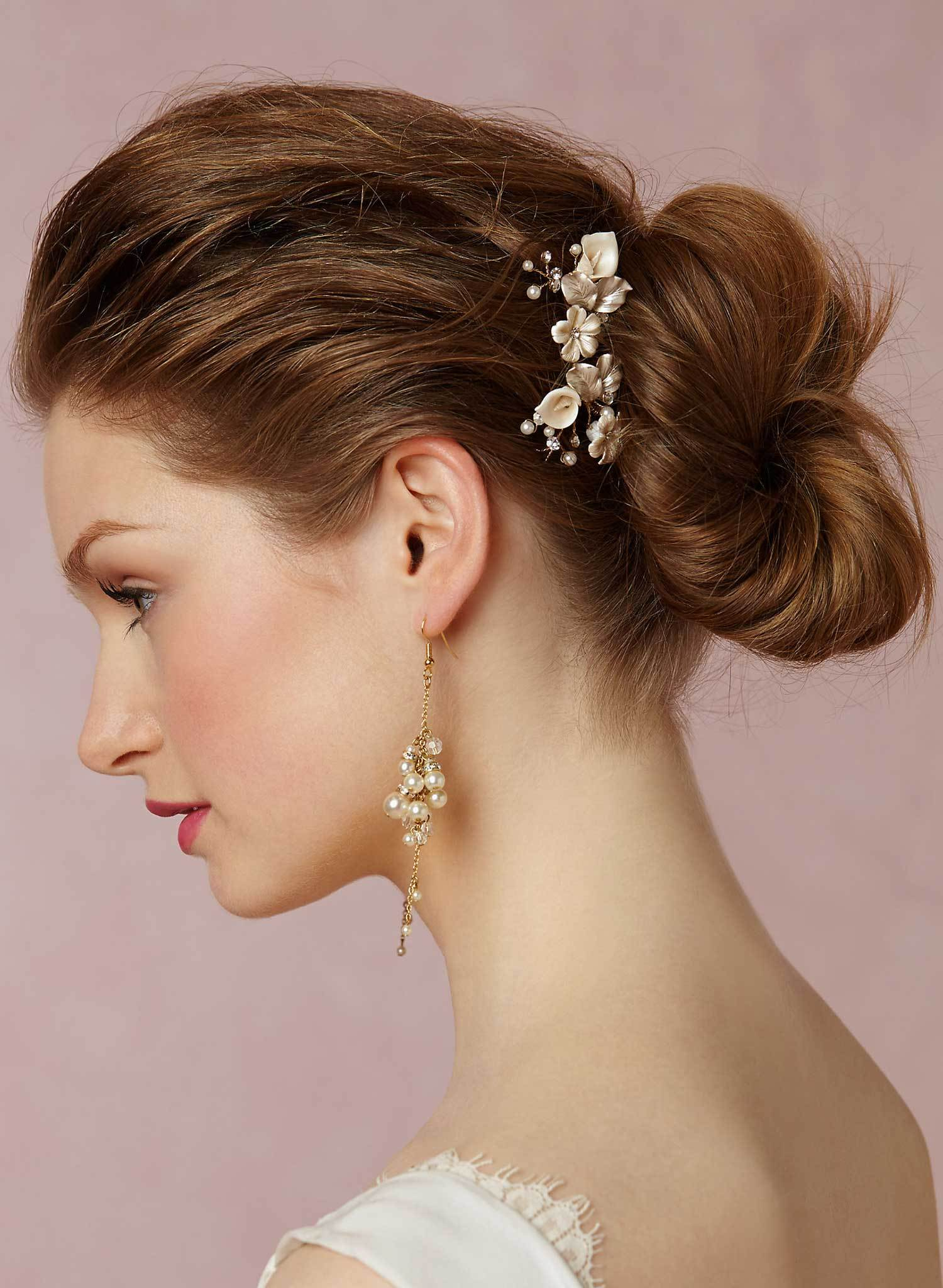 Petite floral and crystal hair pin pair - Style #567
