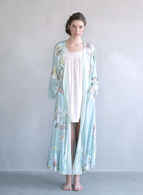 Long robe, reversible silk velvet and floral print robe, twigs and honey bridal wedding robe