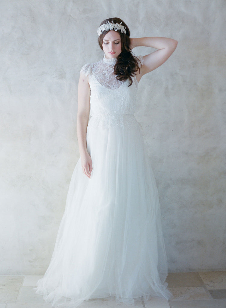 vintage inspired bridal gown, twigs and honey, silk tulle ballgown, wedding dress, lace