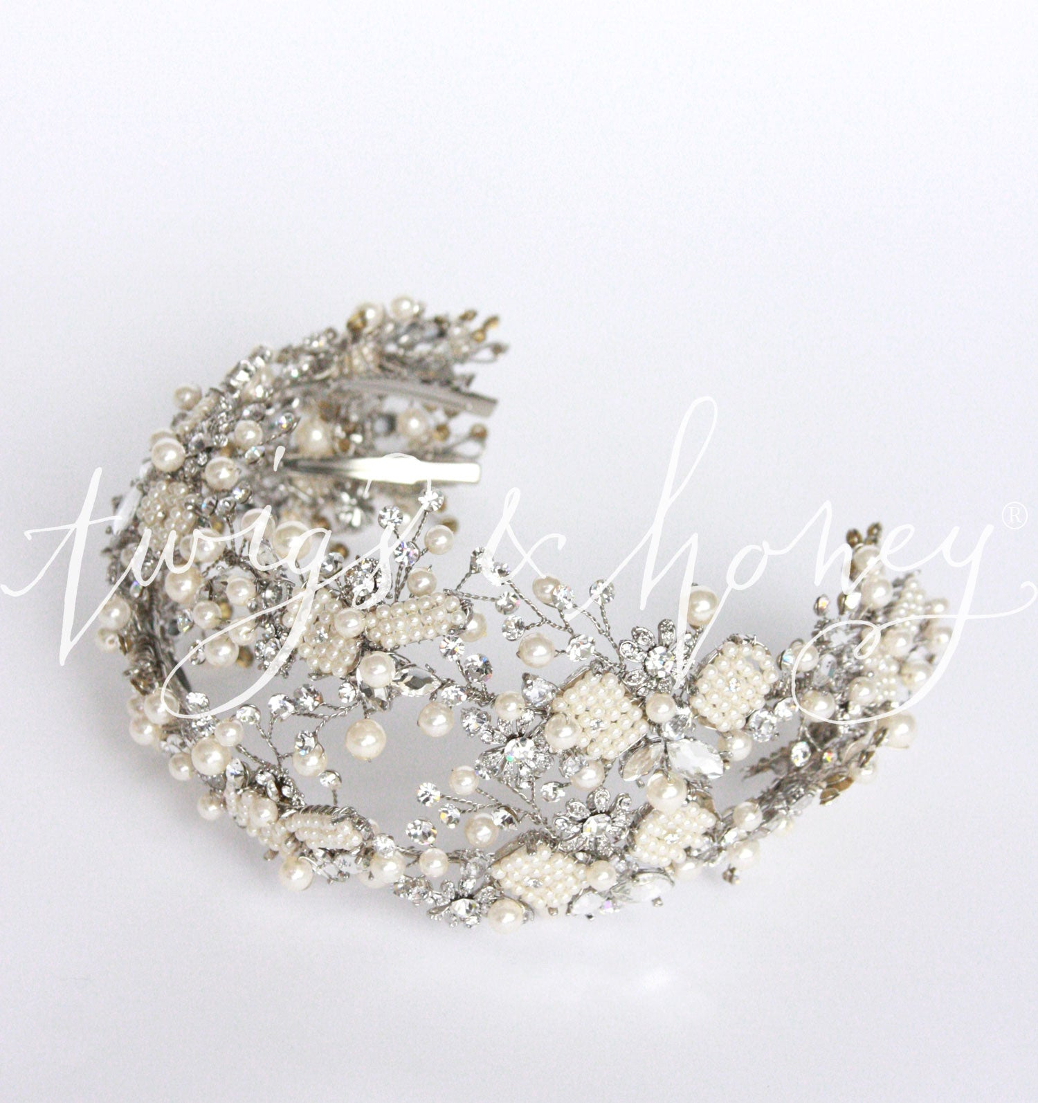 Double ornate beaded and crystal hair vine - Style # 413 | Twigs ...