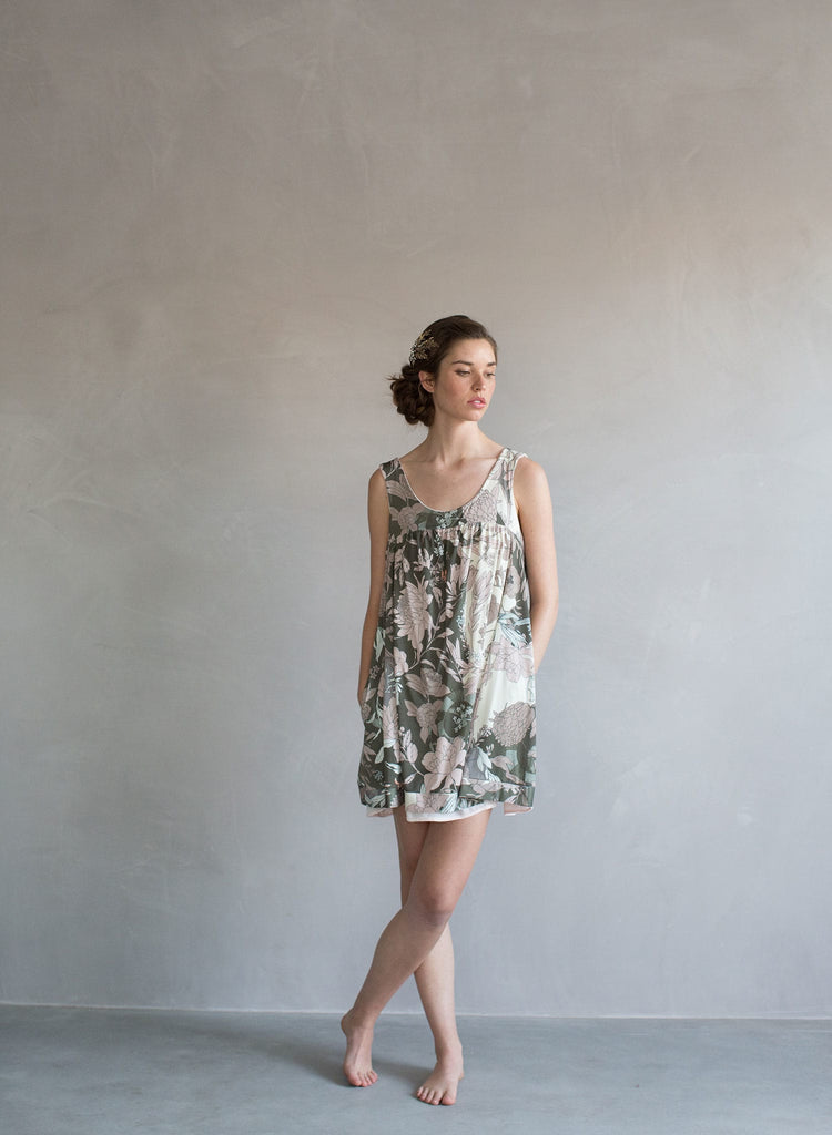 Reversible silk velvet and floral print babydoll dress, tunic dress, short mini dress, twigs and honey apparel