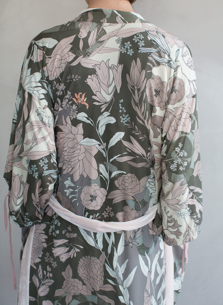 Short robe, everyday wear, jacket, reversible silk velvet, floral print, twigs and honey silk robe