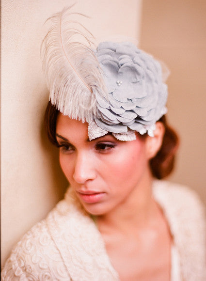 Dusty blue silk flower and feather bridal mini hat