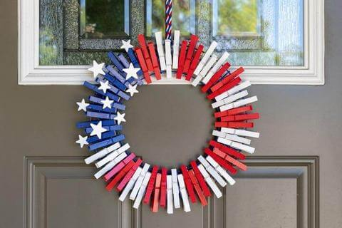 4th of July clothespin wreath