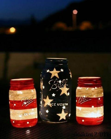 Patriotic Mason Jar Lanterns 4th of July
