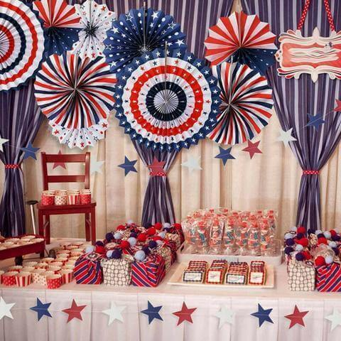 American Flag Tissue Paper Fans 4th of July