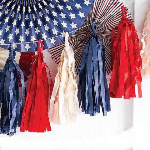 Tissue Paper Tassel Garlands 4th of July