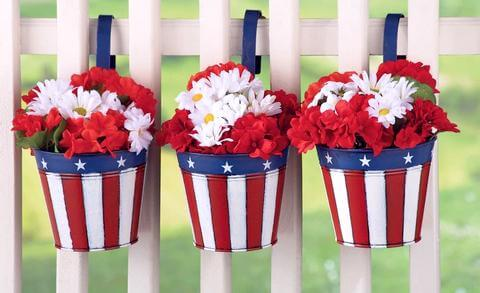 American Flag Metal Buckets with Flowers