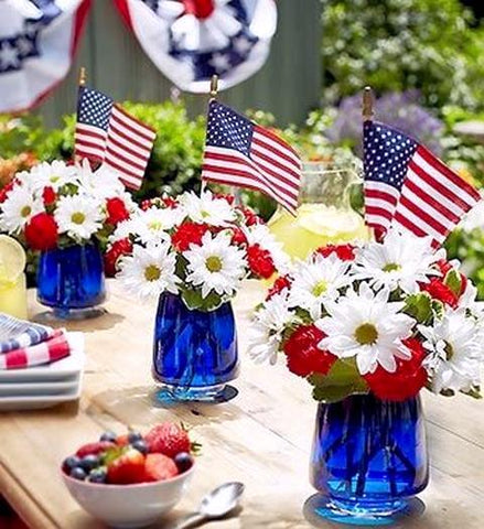Patriotic blue vases
