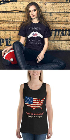 Mounteen - Patriotic 4th of July tank top You're welcome George Washington My patriotic heart beats red, white, and blue t-shirt