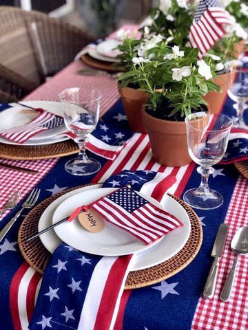 Patriotic Red Plaid Tablecloth