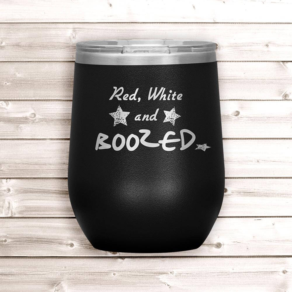 4th of July Wine Tumbler - Black