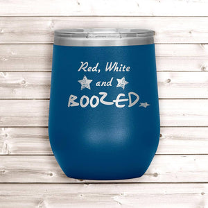 4th of July Wine Tumbler - Blue