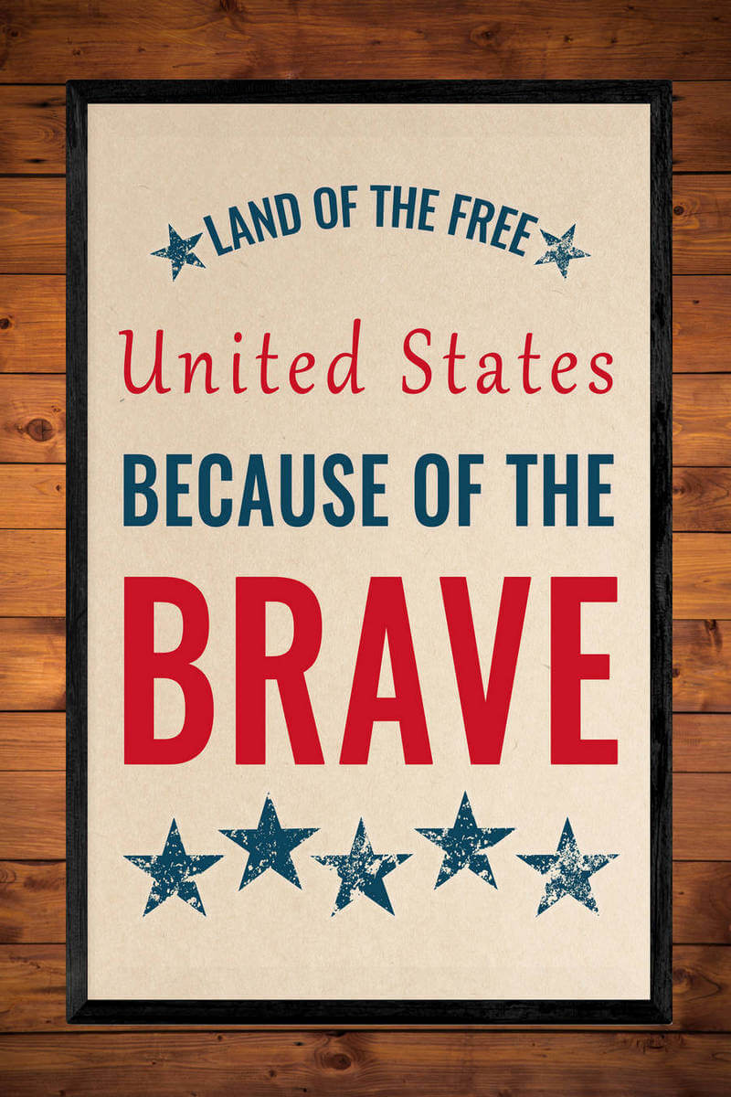 Land of the Free, Because of the Brave Patriotic Printable