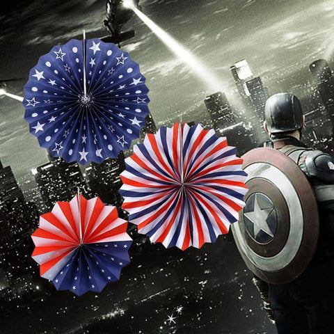 American Flag Giant Tissue Paper Fans,