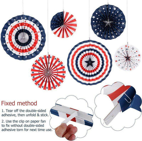 Giant American Flag Tissue Paper Fans