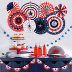 American Flag Tissue Paper Fan Decoration