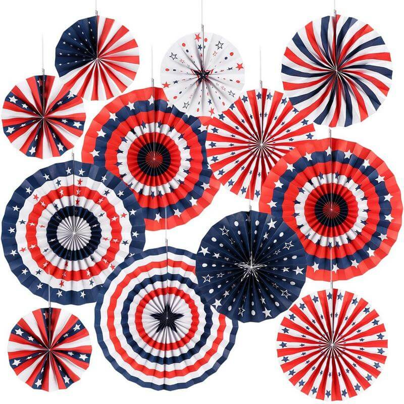 Giant Patriotic American Flag Tissue Paper Fans