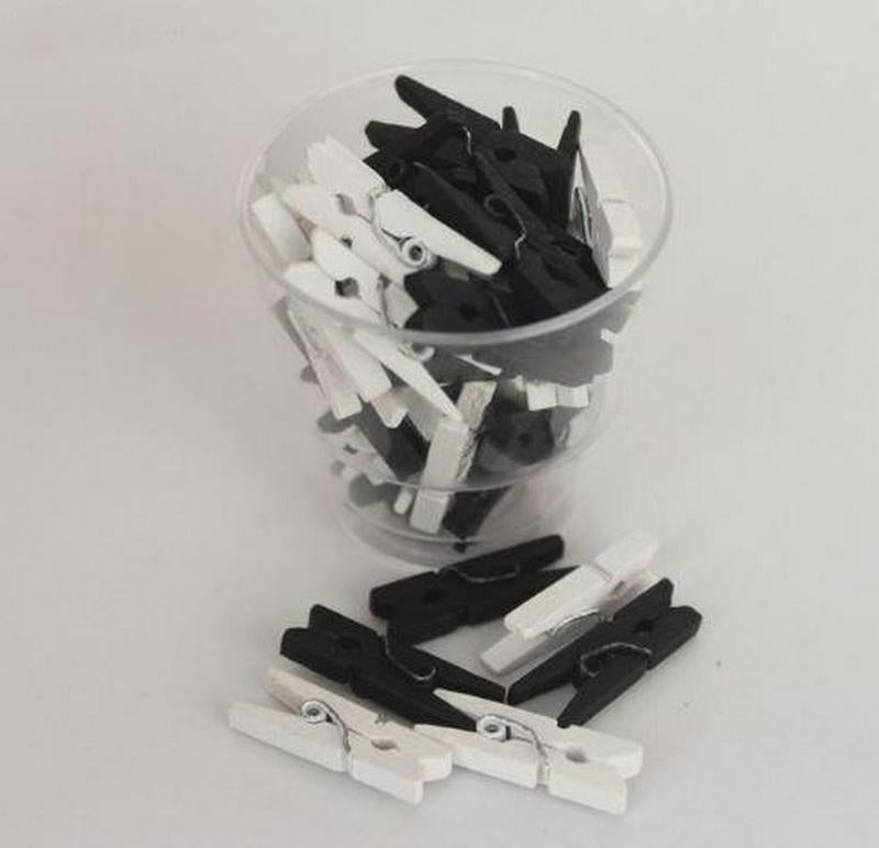 mini clothespins black and white