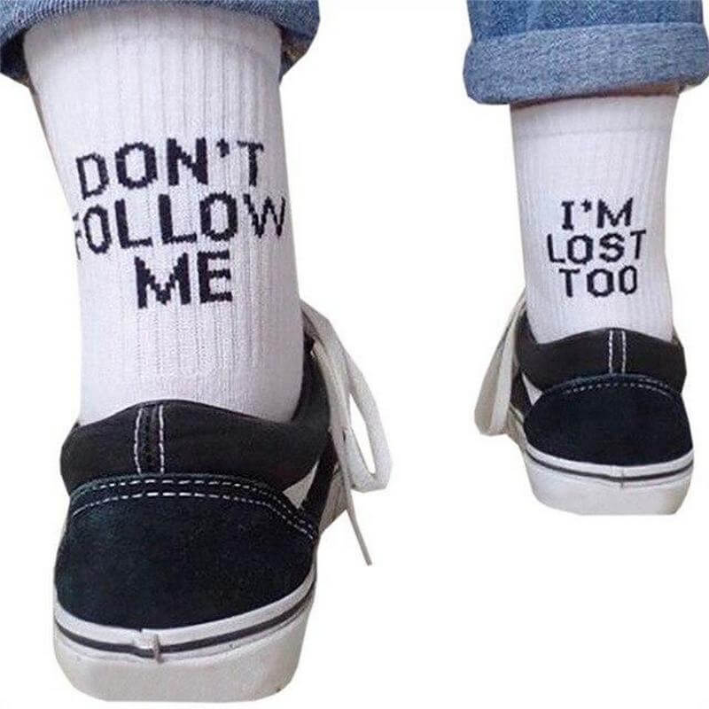 Don't Follow Me I'm Lost Too Socks - White