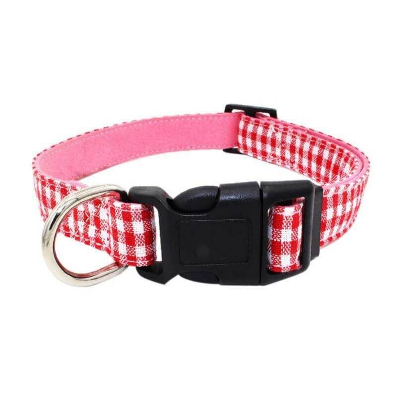 Gingham Dog Collar - Red