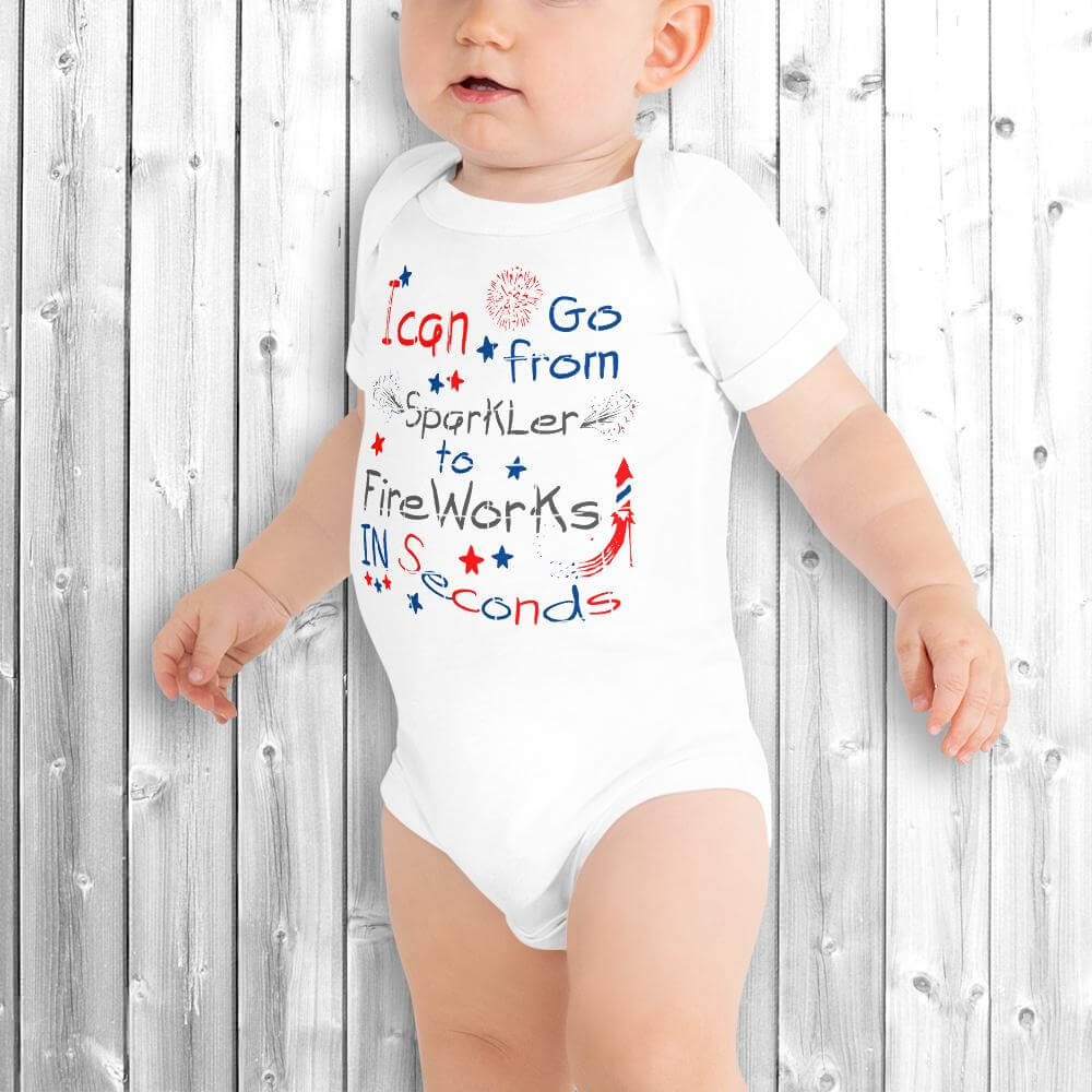 4th of July Baby Onesie White