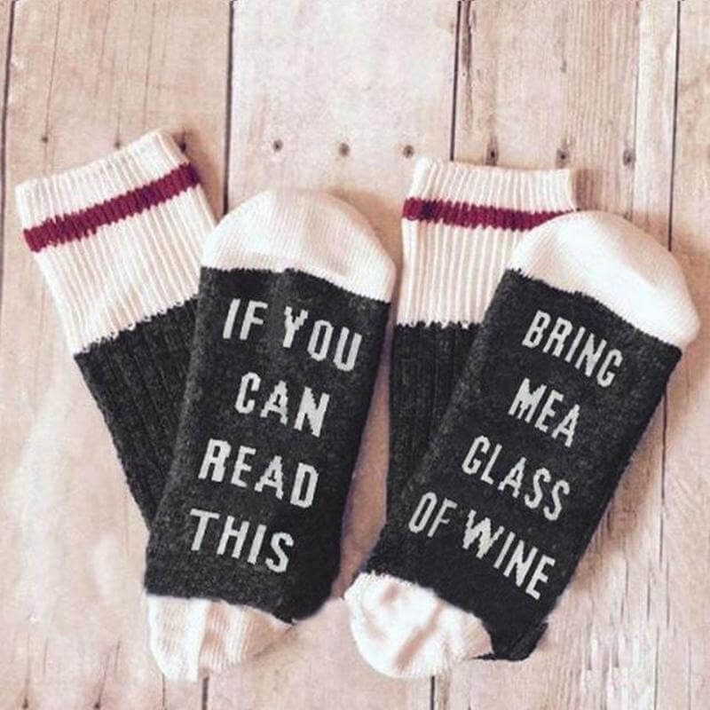 If You Can Read This Bring Me A Glass Of Wine Socks - Black