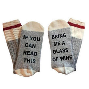 If You Can Read This Bring Me A Glass Of Wine Socks - Gray & Black Text