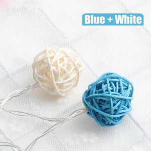 turquoise blue rattan ball string lights