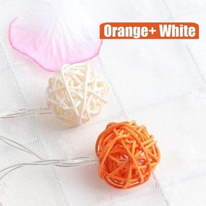 orange rattan ball string lights