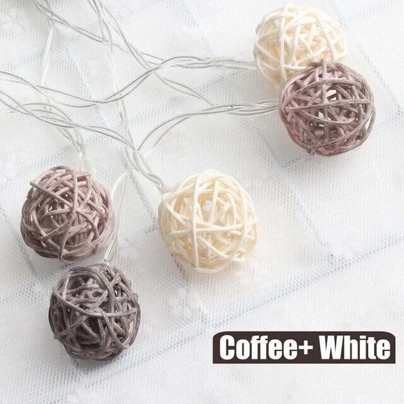 brown rattan ball string lights