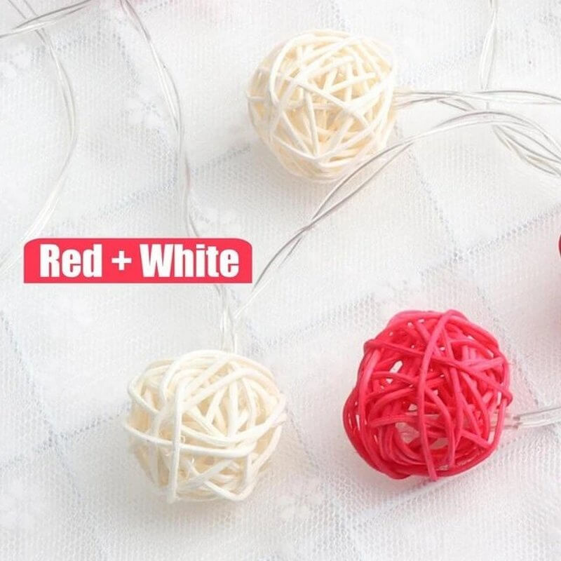 red  rattan ball string lights